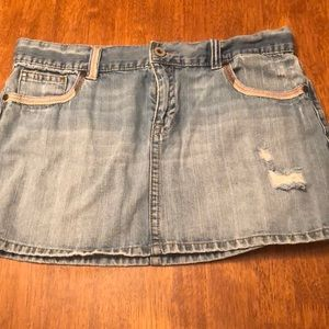 OLD NAVY Faded Denim Distressed Skirt